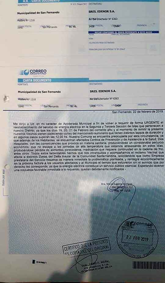 Carta Documento a Edenor
