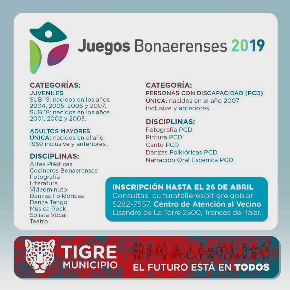 Inscripción para los Juegos Bonaerenses 2019 @ Centro de Atención a Vecino | Los Troncos del Talar | Buenos Aires | Argentina