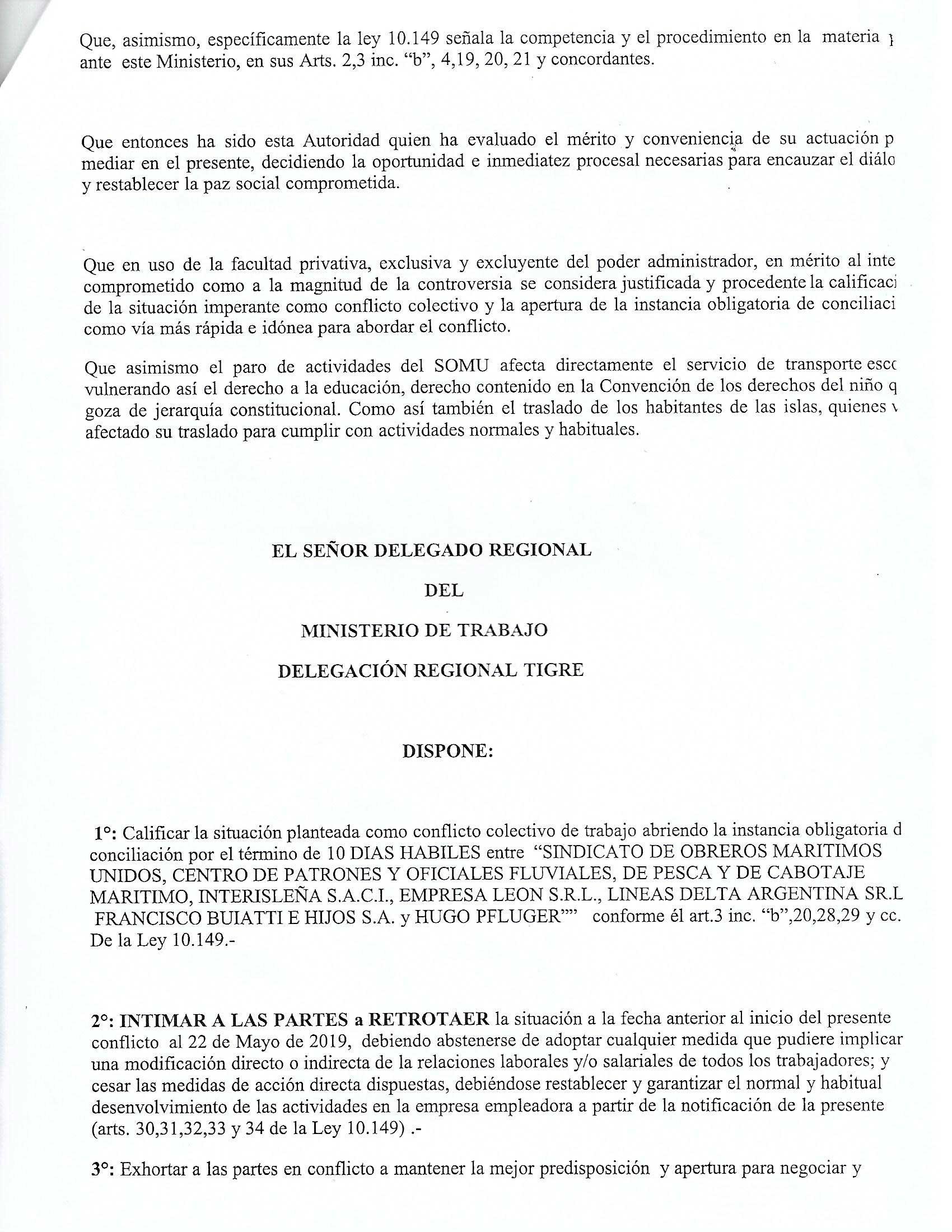 Conciliación Obligatoria Lanchas