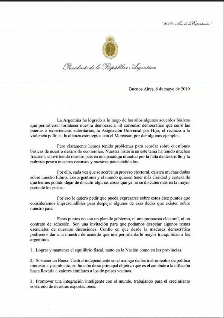 Carta a la oposición