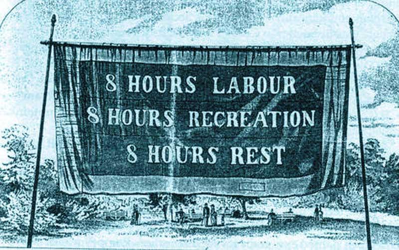 Pancarta por 8 hs de trabajo