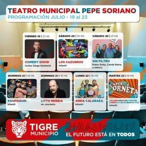Programación Teatro Municipal Pepe Soriano hasta el 23 de julio @ Ituzaingó 2950, benavidez