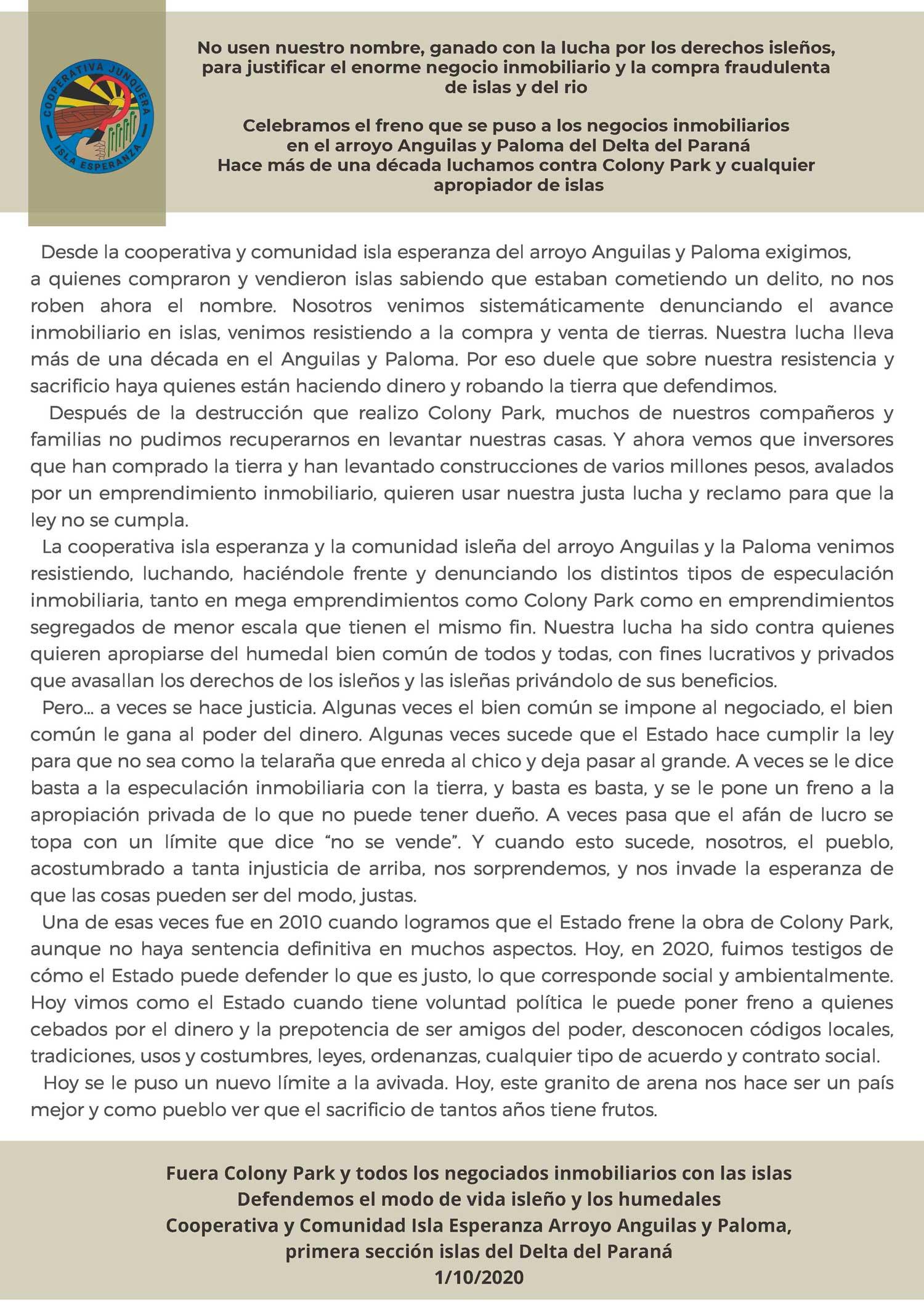 Comunicado Cooperativa Isla Esperanza